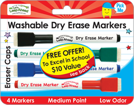 4 Washable Dry Erase Markers with Eraser Caps