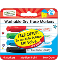 4 Mini Washable Dry Erase Markers