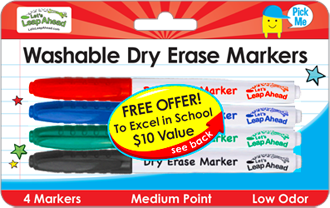 4 Washable Dry Erase Markers